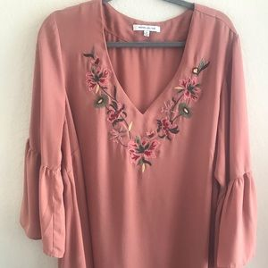 ROSE+OLIVE bell sleeve top with embroidery detail
